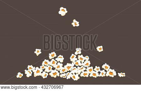 Falling Popcorn. Movie Premiere Popular Junk Food. Cartoon Cinema Snack Frame. Sweet Or Salty Meal F