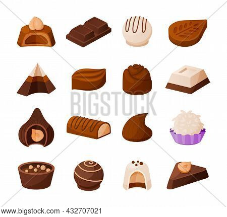 Chocolate Candies. Cartoon Sweets Collection. Desserts Of Sweet Milk And Cacao With Nuts Or Cream Pr