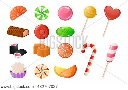 Cartoon Candies. Sweet Caramel Desserts. Lollipop And Gummy Jelly. Toffee And Chocolate Sweets Of Ro