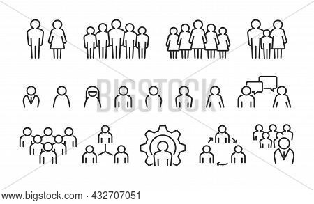 People Group Line Icons. Persons Group Avatar And User Profile Signs. Isolated Couples And Families.