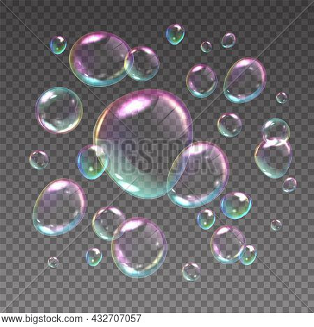 Flying Soap Bubbles. Realistic Iridescent Spheres With Rainbow Reflections. 3d Shampoo Balls Floatin