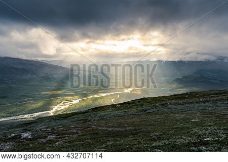 Remote Harsh Arctic Landscape In Rough Weather In Sarek National Park, Swedish Lapland. Heavy Clouds