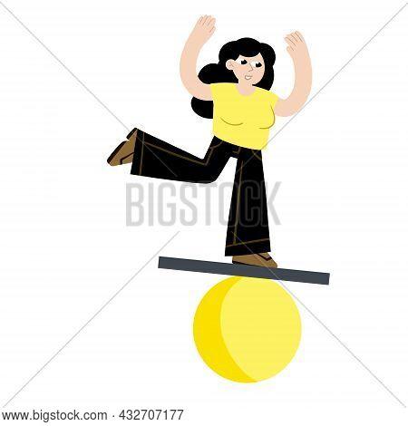 Woman Balancing On Geometric Figure. Circus And Yoga. Balance In Life. Flat Cartoon Illustration. Co