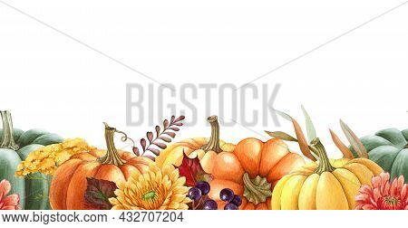 Pumpkin Floral Seamless Border. Watercolor Illustration. Hand Drawn Seamless Border From Autumn Flow