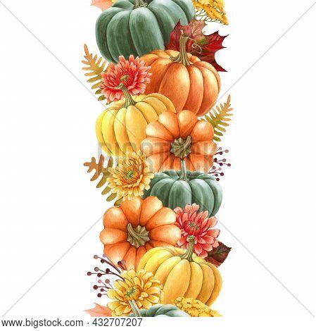 Pumpkin Seamless Border. Watercolor Illustration. Hand Drawn Seamless Border From Autumn Flowers, Pu