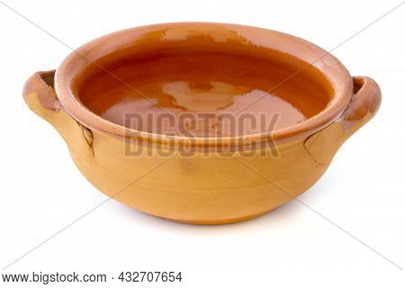 Empty Terracotta Bowl On A White Background