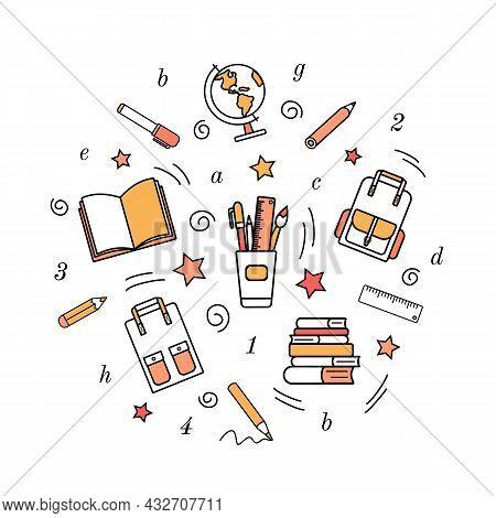 Simple School Stationery Icons. Doodles, Pencil Sketch, Books, School Satchel, Globe, Pens, Marker,