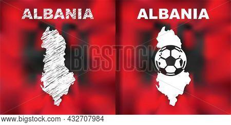 Albanian Abstract Map Set With Flag And Ball.