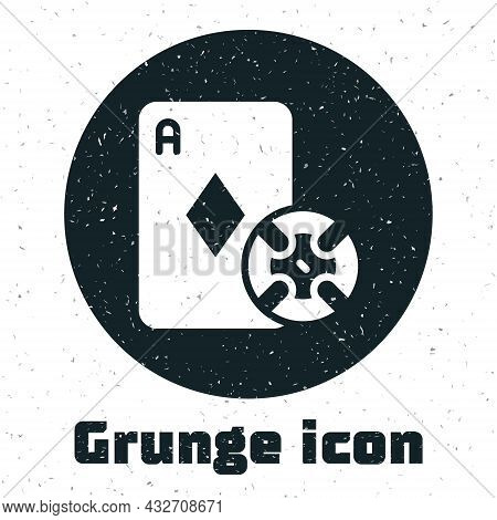 Grunge Casino Chip And Playing Cards Icon Isolated On White Background. Casino Poker. Monochrome Vin