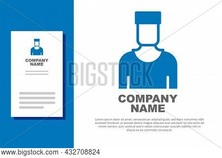 Blue Sailor Captain Icon Isolated On White Background. Logo Design Template Element. Vector
