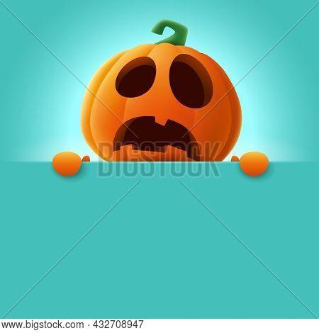 3D illustration of cute Jack O Lantern orange pumpkin character with big blank signboard on teal background. Wide copy space for design.