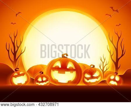 Halloween Celebration Fun Party. Jack O Lantern party. Halloween pumpkin patch in the moonlight.