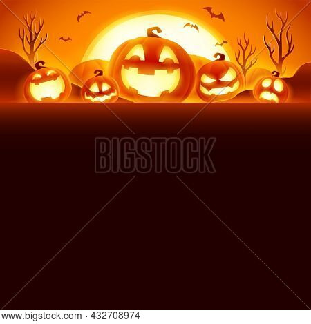 Happy Halloween. Jack O Lantern party. Halloween pumpkin patch in the moonlight. Wide copy space for design.