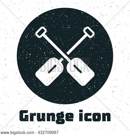 Grunge Paddle Icon Isolated On White Background. Paddle Boat Oars. Monochrome Vintage Drawing. Vecto