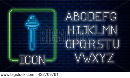 Glowing Neon Honey Dipper Stick Icon Isolated On Brick Wall Background. Honey Ladle. Neon Light Alph