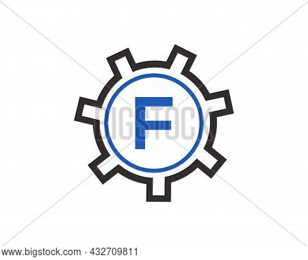 Gear Logo On Letter F. Initial F Gear Letter Logo Design Template. F Gear Engineer Logo