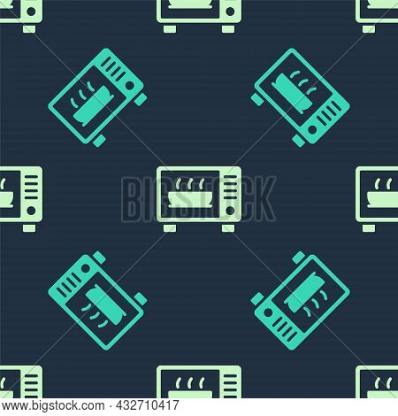 Green And Beige Microwave Oven Icon Isolated Seamless Pattern On Blue Background. Home Appliances Ic