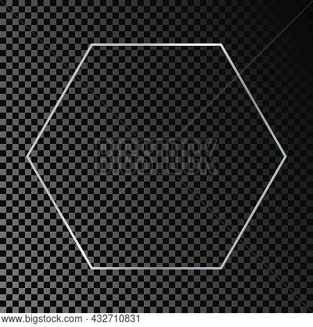 Silver Glowing Hexagon Frame Isolated On Dark Transparent Background. Shiny Frame With Glowing Effec
