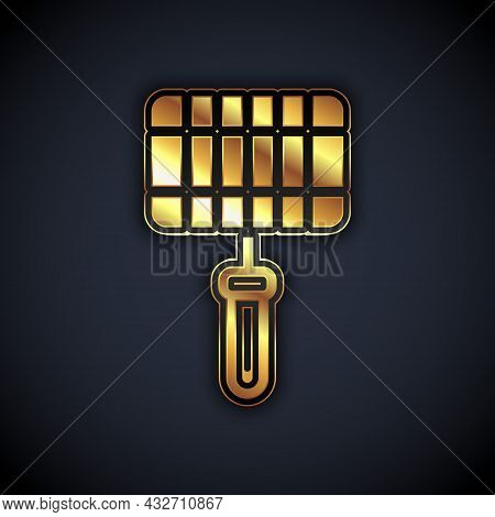 Gold Barbecue Steel Grid Icon Isolated On Black Background. Top View Of Bbq Grill. Wire Rack For Bbq