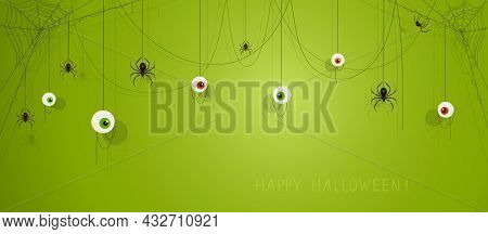 Text Happy Halloween On Green Banner With Scary Eyes And Black Spiders On Cobwebs. Illustration Can