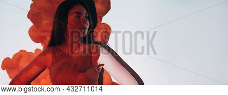 Woman Period. Gynecology Banner. Female Healthcare. Menstrual Bleeding. Pretty Young Lady Isolated O