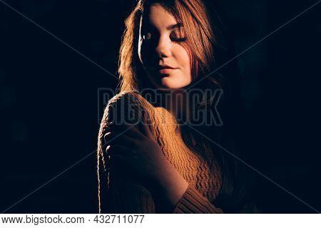 Sensual Woman. Feminine Beauty. Female Tenderness. Night Seductive. Portrait Of Mysterious Gentle Pr