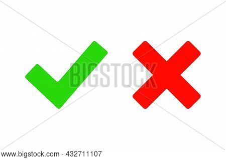 Check Marks Isolated On White Background. Green Tick And Red Cross Vector Icons. Yes And No Symbols