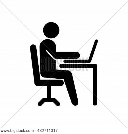 Office Worker Vector Icon Isolated On White Background. Working Place At The Table With A Laptop. Fl
