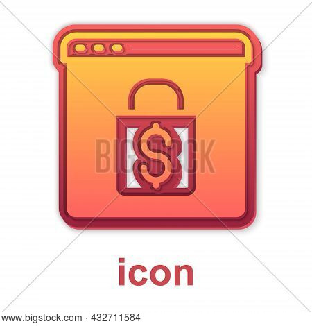 Gold Online Shopping On Screen Icon Isolated On White Background. Concept E-commerce, E-business, On