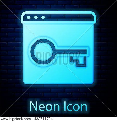 Glowing Neon Secure Your Site With Https, Ssl Icon Isolated On Brick Wall Background. Internet Commu