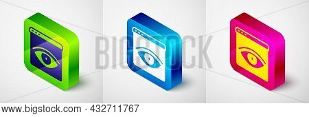 Isometric Browser Incognito Window Icon Isolated On Grey Background. Square Button. Vector