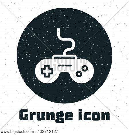 Grunge Gamepad Icon Isolated On White Background. Game Controller. Monochrome Vintage Drawing. Vecto