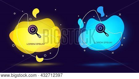 Black Frying Pan Icon Isolated On Black Background. Fry Or Roast Food Symbol. Abstract Banner With L
