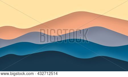 Abstract mountain background illustration. Mountain view papercut colorful background illustration v
