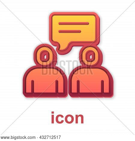 Gold Two Sitting Men Talking Icon Isolated On White Background. Speech Bubble Chat. Message Icon. Co