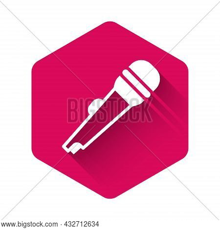 White Microphone Icon Isolated With Long Shadow Background. On Air Radio Mic Microphone. Speaker Sig