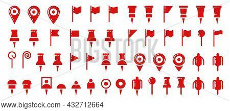 Location Flat Icons Set. Pointer Of Location On The Map. Map Pins. Indicative Marker For Application