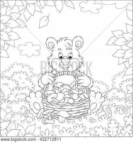Little Bear Mushroomer Friendly Smiling And Sitting With A Big Wicker Basket Full Of Picked Mushroom
