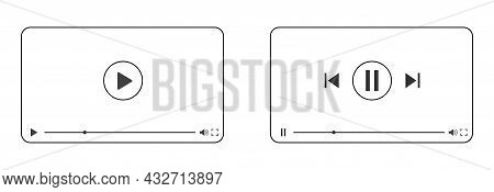 Template For The Interface Of A Multimedia Video Player With The Play, Pause And Scroll Buttons. An