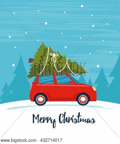 Cute Red Retro Car With Christmas Tree On The Roof. Merry Christmas And Happy New Year Greeting Card