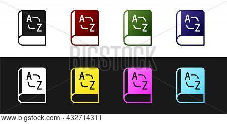 Set Translator Book Icon Isolated On Black And White Background. Foreign Language Conversation Icons