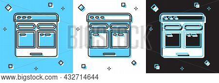 Set Online Translator Icon Isolated On Blue And White, Black Background. Foreign Language Conversati