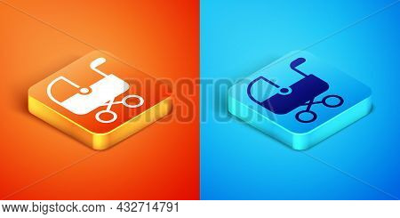 Isometric Baby Stroller Icon Isolated On Orange And Blue Background. Baby Carriage, Buggy, Pram, Str