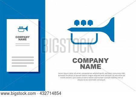 Blue Trumpet Icon Isolated On White Background. Musical Instrument Trumpet. Logo Design Template Ele