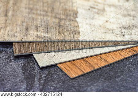Pvc Resin Vinyl Sample, Floor Design Choice With Copy Space. Easy Installation Of Heated Vinyl Floor