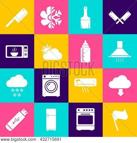 Set Flag, Cloud Download, Kitchen Extractor Fan, Paint Brush, Sun And Cloud Weather And Microwave Ov