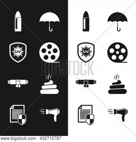 Set Film Reel, Uv Protection, Bullet, Umbrella, Diploma Rolled Scroll And Shit Icon. Vector