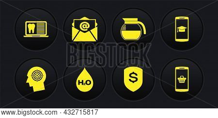 Set Head Hunting Concept, Graduation Cap Mobile, Water Drop With H2o, Shield And Dollar, Coffee Pot