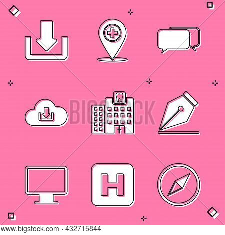 Set Download, Medical Location With Cross, Chat, Cloud Download, Dental Clinic And Fountain Pen Nib