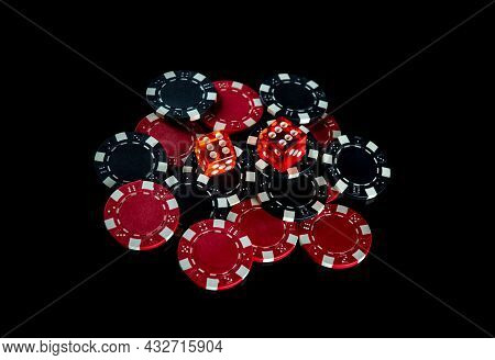 Poker Dice And Chips On Black Background. Craps Club Game Concept. Poker Game